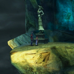 Yuna statue with a horn on the forehead, Mt. Gagazet.