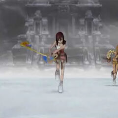 Screenshot of <i>Dead Fantasy II</i> of (from left to right) Yuna, Kairi and Rikku.