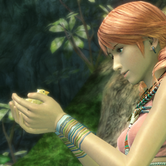 The chocobo chick talks with Vanille in the <a href=