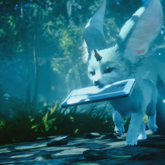 Carbuncle brings Noctis a smartphone in the <i>Platinum Demo</i>.