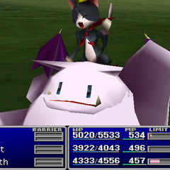 Cait Sith using an item on an ally in <i><a href=