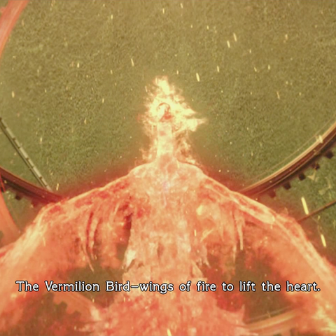 Depiction of the Vermilion Bird from the <i>Type-0</i> opening