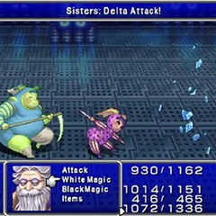 The party battles the Magus Sisters in <i>Final Fantasy IV Complete Collection</i>.