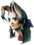 Арт работа на портрет Аэрис из Final Fantasy VII.