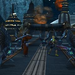 Tidus and Auron fight Sinscales on the Zanarkand freeway (HD Remaster).