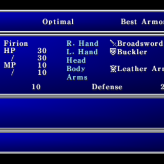 Equipment menu in the PSP version.