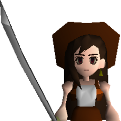 Tifa's field model holding the Masamune in <i>Final Fantasy VII</i>.