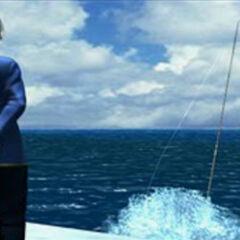Fujin watches Raijin in the water.