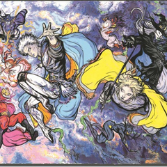 Artwork of the game's cast by Yoshitaka Amano.
