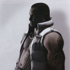 Promotional image of Barret in his <i>Final Fantasy VII: Advent Children</i> outfit.