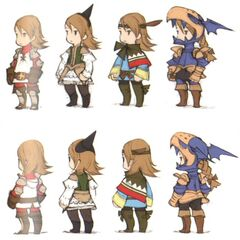 Early DS concept art of various jobs by Akihiko Yoshida.