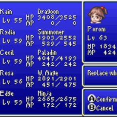 <i>Final Fantasy IV Advance</i> party selection screen.