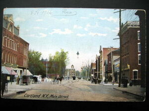 Postcard of Cortland, New York Main St 1906