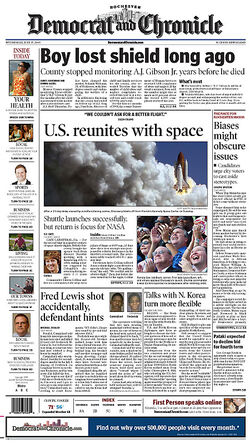Rochester Democrat and Chronicle front page