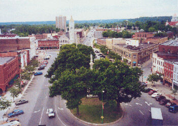 Watertown Public Square Aerial blurry