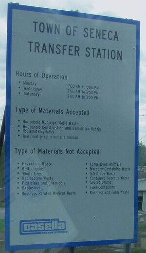 Town of Seneca Transfer Station dump hours accepted materials sign