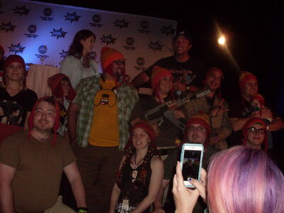 Jewel Staite & Adam Baldwin with Jayne Hat and Waldo Group 2