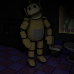 Laa-Laa in Dipsy's Arcade, with no eyes in the Nightmare Night.
