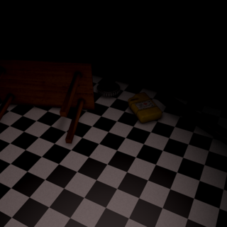 The beta Repair Room, empty. Note the slight red hue of the light and the overturned table and moved fuel can.