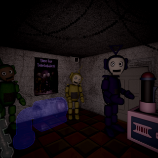 PTLD-93's silhouette as seen in the <i>FNaTL 2</i> final cutscene from the far left.