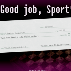 The check Parker receives after beating the fifth night.
