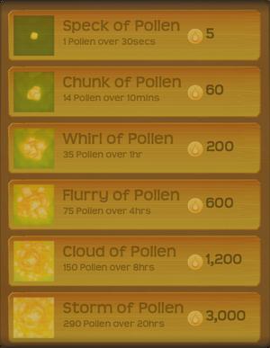 Pollen Flower Menu§Stage01 NoHoneydew