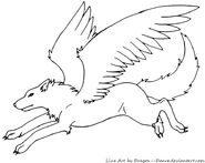 Free winged wolf line art by dragon dance-d50y75z