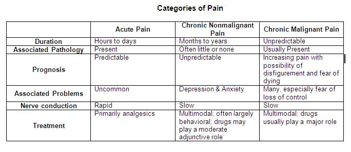 Categories of Pain