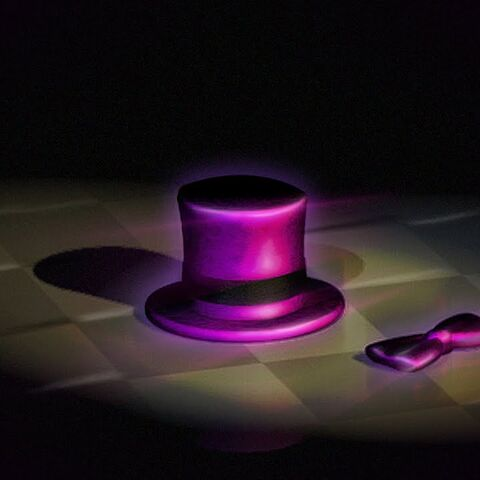 Close-up of Freddie Fredbear's possible hat and bow-tie.