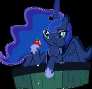 Luna eats an applee