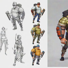 Early concept art of constructor and other characters