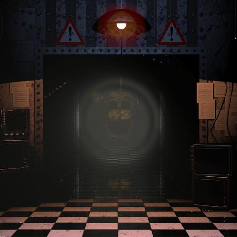 Golden Freddy down the hallway.