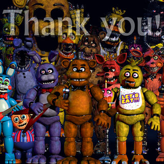 Nightmare Bonnie, featured with all (excluding the phantoms, the oddly-colored BB, and two shadows) of the other animatronics throughout the first four installments of the <i>Five Nights at Freddy's</i> franchise.