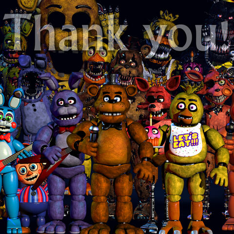 Golden Freddy, featured with all of the other animatronics (excluding the phantoms and shadows) throughout the first four <i>Five Nights at Freddy's</i> installments.
