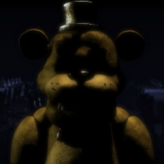 Golden Freddy with Chica and Bonnie staring at the player during the cutscene.