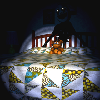 Nightmarionne behind the Bed, brightened for clarity.