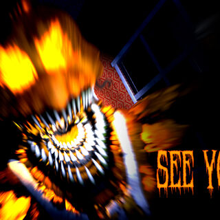 The fifth and final teaser for the Halloween update featuring a still frame of Jack-O-Chica's jumpscare and text reading