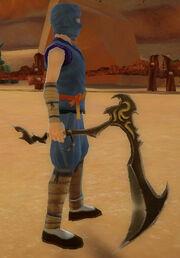 Ninja's Jagged Scythe of Mysticism held