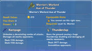 Warrior's Warlord Axe of Thunder item