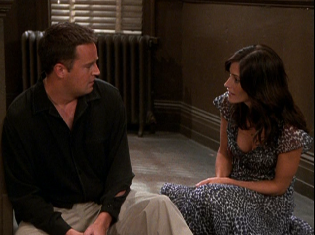 File:Chandler & Monica in the Hallway (9x08).png