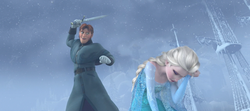Hans prepares to kill Elsa