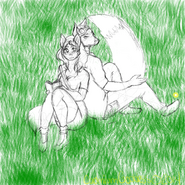 Nubis&Oasis at their secret spot, sketch made by CadmiumGoddess