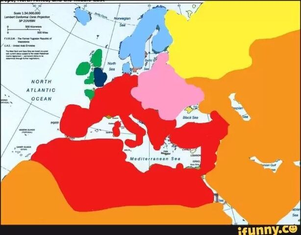 File:Europe in 2168 Red- Papal Empire Orange- Islamic Empire Green- Celtic Union Dark blue- The kingdom of England Light blue- The Nordic union Pink- the Eastern European Union Yellow- the fascist republic of russia .jpg
