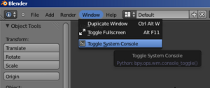 Blender Tip Console toggle