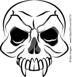 20770-Clipart-Illustration-Of-A-Vampires-Skull-With-Fanged-Teeth-And-Deep-Eye-Sockets