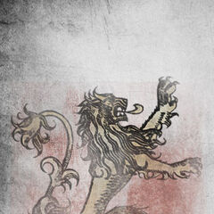 The banner of House Lannister of Casterly Rock, the rulers of the Westerlands.