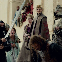 Cersei, Joffrey and Sansa watch as Eddard is executed in