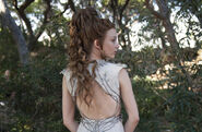 Margaery Purple Wedding costume back view closeup behind the scenes