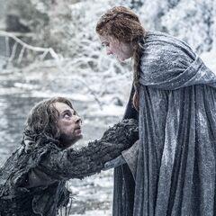 Sansa with Theon Greyjoy in Season 6