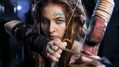 Lovely robin hood eyes bow and arrow girl face-hd-wallpaper-556651
